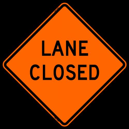 Lane Closed Work Zone Sign